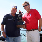 """Coach Bill Rose of Mission Viejo Nadadores accepts """"The Shark"""" Team Champion Award (Picture taken by Elliot Karlan)"""