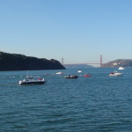 Halfway point of the race in Raccoon Strait with Golden Gate Bridge in background (picture taken by Rob Davis)